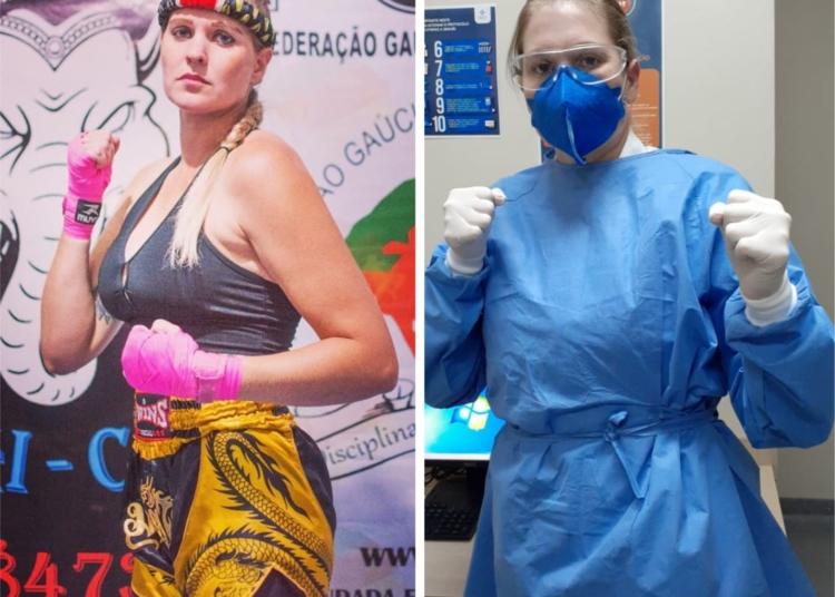 Luta da canoense Mara Schorn, campeã mundial de muay thai na Tailândia, agora é no front da guerra contra o coronavírus — Fotos: Arquivo pessoal